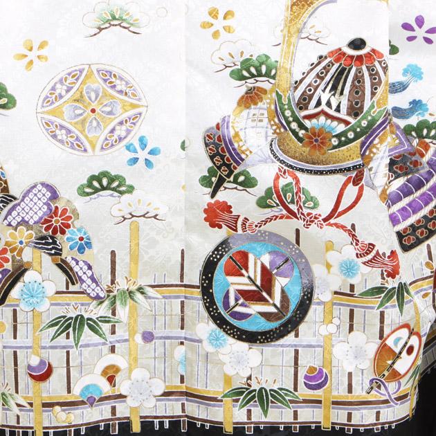 七五三 レンタル 男の子/5歳、7歳 白・黒色/かぶと〔身長:106cm-116cm〕卒園式 結婚式 NT-151