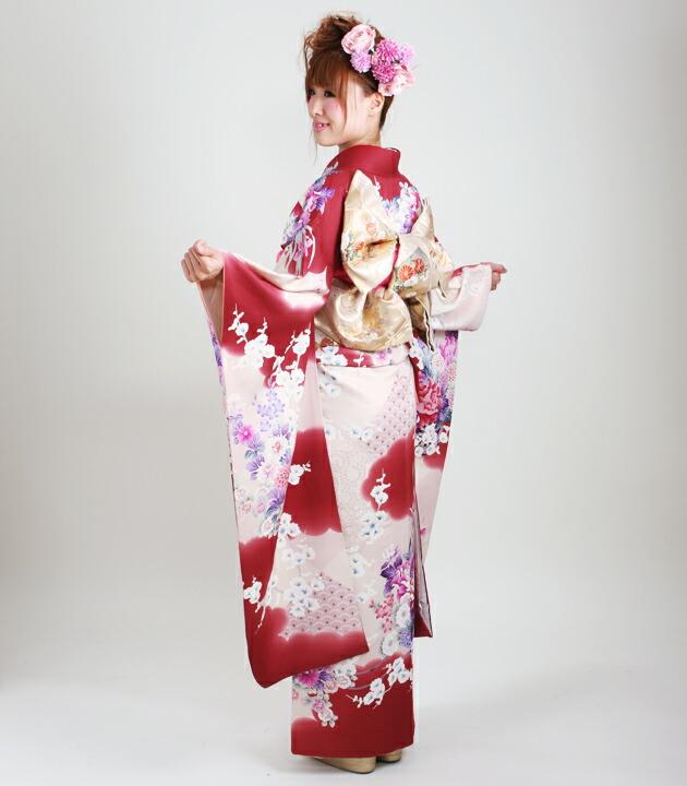 振袖 レンタル,〜165cm エンジ色/四季花 結婚式 成人式 結納 NT-82