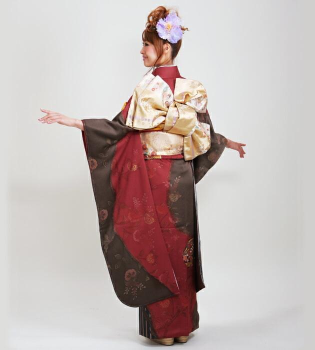 振袖 レンタル,〜168cm エンジ茶/扇に糸巻 結婚式 成人式 結納 NT-186