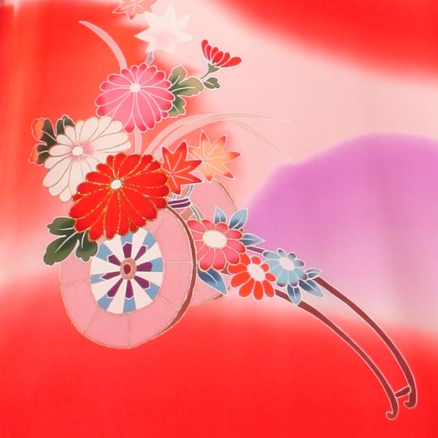 お宮参り レンタル 初着 産着 レンタル 女の子 赤/牡丹 【日本製高級正絹】 赤ちゃん 祝着 l-61