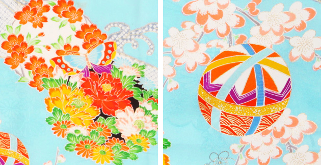 袴 レンタル 女の子/5〜7歳 七五三着物 7歳 七五三着物7歳 水色/てまり花 卒園式 結婚式 NT-袴ナ