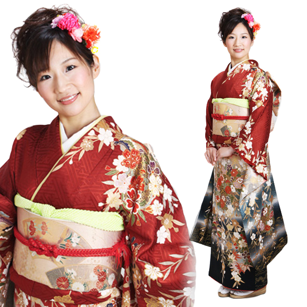 振袖 レンタル,〜168cm レンガ・黒色/しだれ桜に手まり 結婚式 成人式 結納 NT-131
