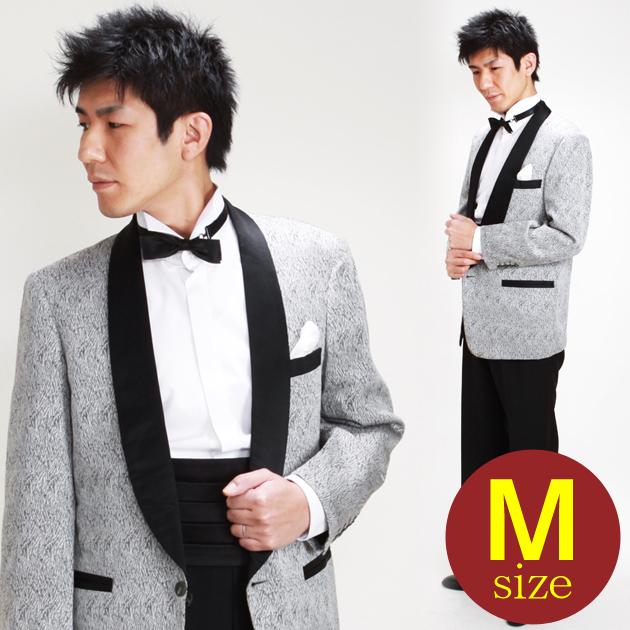 【タキシード レンタル】M・Lサイズ/168cm〜175cm/白地にグレージャガード 1143M