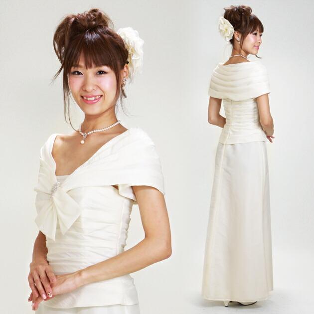 二次会ドレス レンタル 7号-9号 スレンダービスチェ オフホワイト 結婚式の2次会に 8107