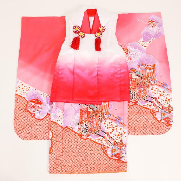 七五三 被布セット レンタル 女の子 3歳 ピンク色/御所車〔身長:86cm,88cm〕 卒園式 結婚式 NT-329-s20