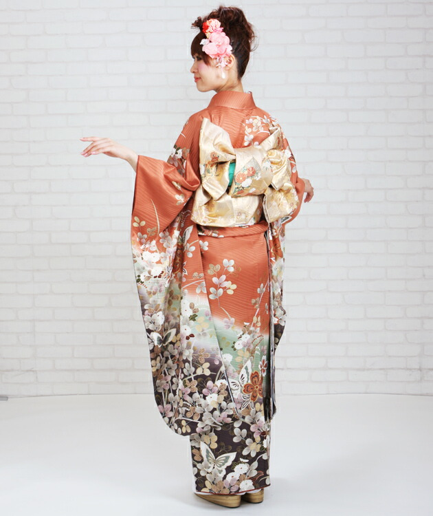 振袖 レンタル,〜168cm オレンジ・グリーン・グレー色/蝶に四季花 結婚式 成人式 結納 NT-160