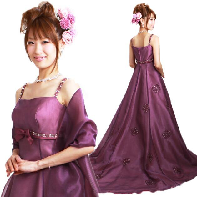 二次会ドレス レンタル 9号-11号 Aライン ワインレッド 結婚式の2次会に 8324