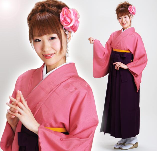 卒業式 袴 レンタル ローズピンク色 無地 身長〜160cm,7号〜11号 NT-muji61