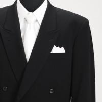 礼服 レンタル 〔4月中旬〜10月中旬向け〕 夏用 黒ダブル 略礼服 メンズ レンタルスーツ