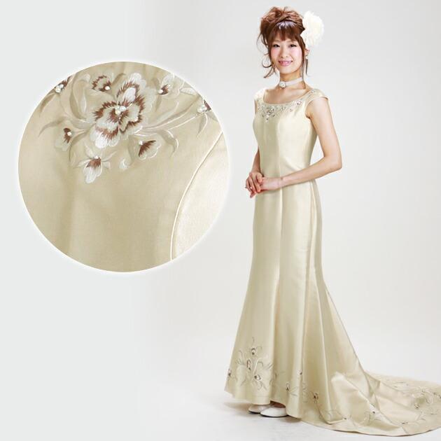 二次会ドレス レンタル 10号 マーメイドライン シャンパンゴールド 結婚式の2次会に 8313