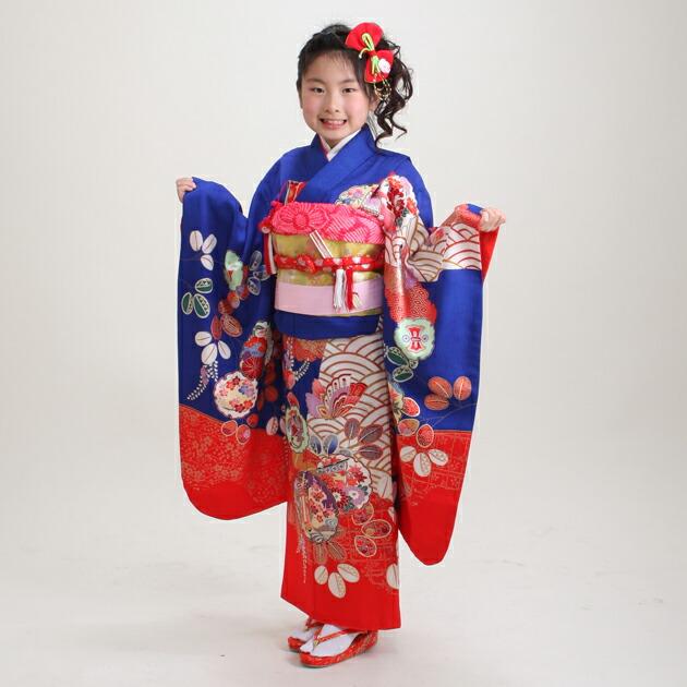 七五三 レンタル 女の子/5〜7歳 七五三着物 7歳 七五三着物7歳 紺赤色/蝶・雪輪 卒園式 結婚式 ★NT-116