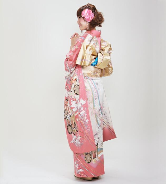 振袖 レンタル,〜163cm ピンク色/御所車 結婚式 成人式 結納 NT-88