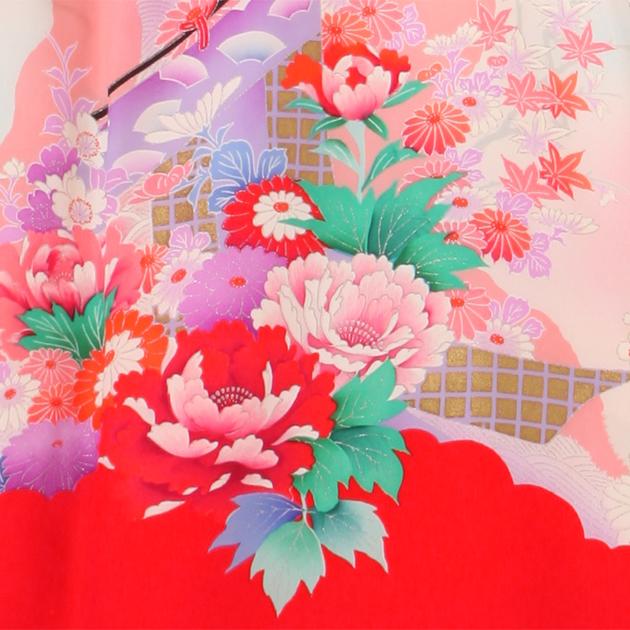お宮参り レンタル 初着 産着 レンタル 女の子 赤/牡丹 【日本製高級正絹】 赤ちゃん 祝着 l-63