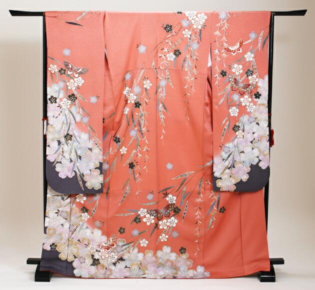 振袖 レンタル,〜168cm ピンク/蝶に四季花 結婚式 成人式 結納 NT-182