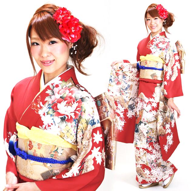 振袖 レンタル,〜165cm 赤色/桜に孔雀 結婚式 成人式 結納 NT-89