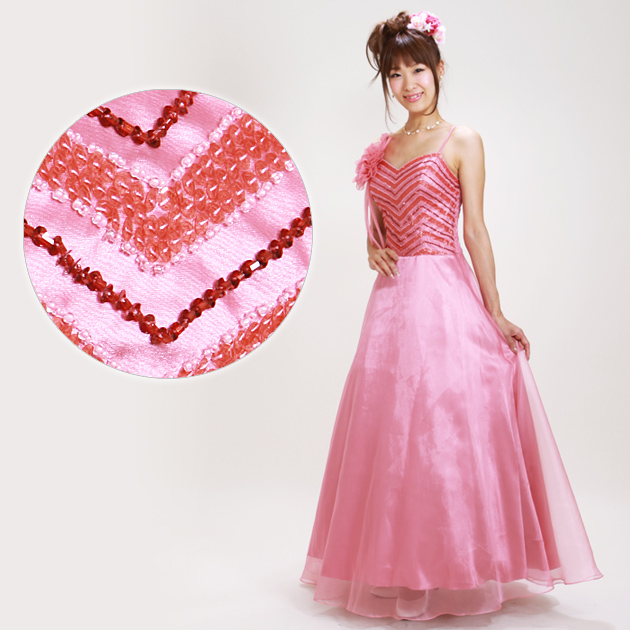 二次会ドレス レンタル 7号-11号 Aライン ピンク 結婚式の2次会に 8109