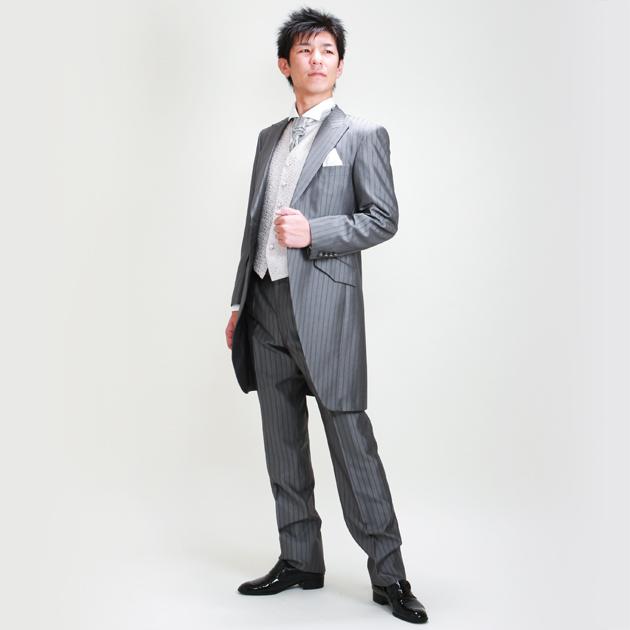 タキシード レンタル 【グレーロングタキシード レンタル】新郎 結婚式 nt028