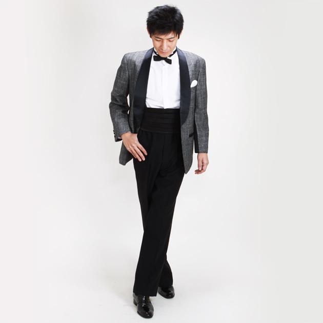 【タキシード レンタル】M・Lサイズ/168cm〜175cm/グレー 黒拝絹 ショールカラー 50672