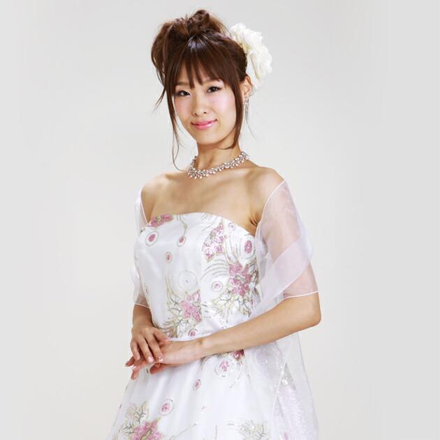 二次会ドレス レンタル 11号-15号 Aライン ホワイト 結婚式の2次会に 8315