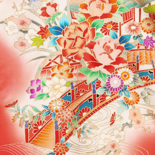 お宮参り レンタル 初着 産着 レンタル 女の子 赤/バラの花 【日本製高級正絹】 赤ちゃん 祝着 l-64