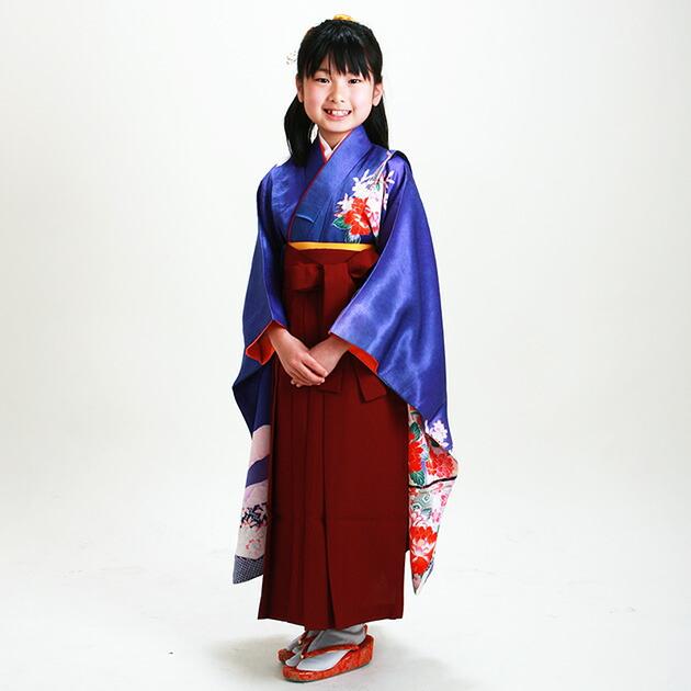 袴 レンタル 女の子/5〜7歳 七五三着物 7歳 七五三着物7歳 青色/ぼたん 卒園式 結婚式 NT-袴102