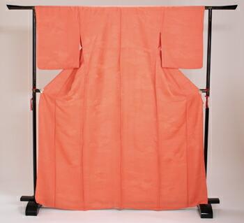 色無地 【単衣】 レンタル 6月・9月 〔高級正絹〕 オレンジ色 NT-14