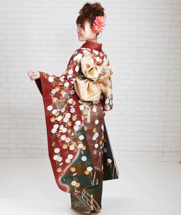振袖 レンタル,〜168cm レンガ/八重桜・青海波・御所車 結婚式 成人式 結納 NT-172