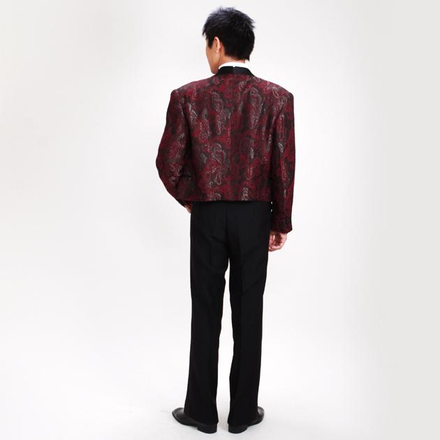【スペンサー タキシード レンタル】M・Lサイズ/165cm〜172cm/赤 パーティ 演奏会 2-4589