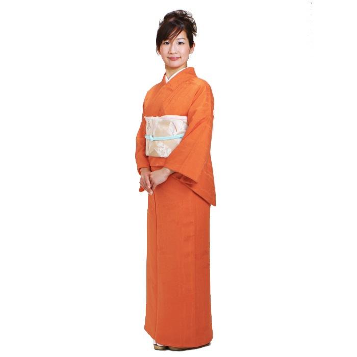 色無地 レンタル 袷 10月〜5月向け 高級正絹 オレンジ色 着物 一つ紋 お茶会 入学式 卒業式 NT-38