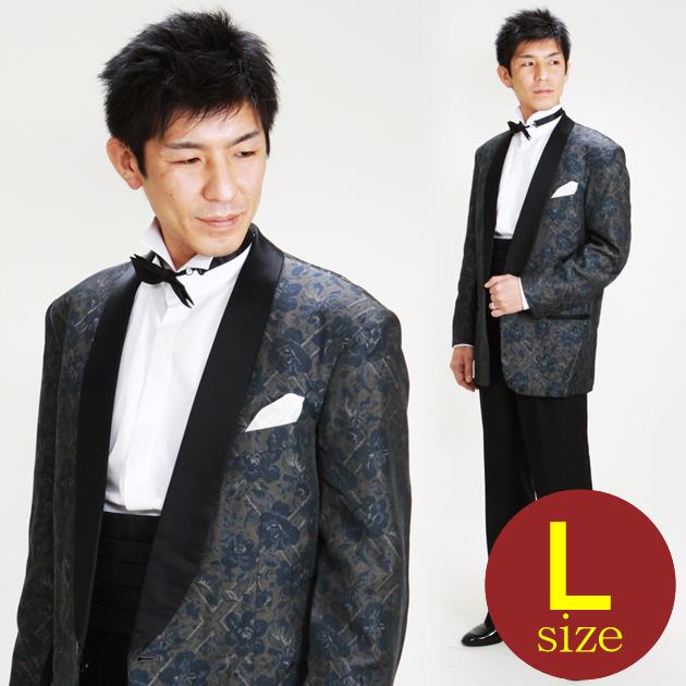 【タキシード レンタル】L・XLサイズ/170cm〜182cm/ブルーブラウン パーティ 演奏会 up25205