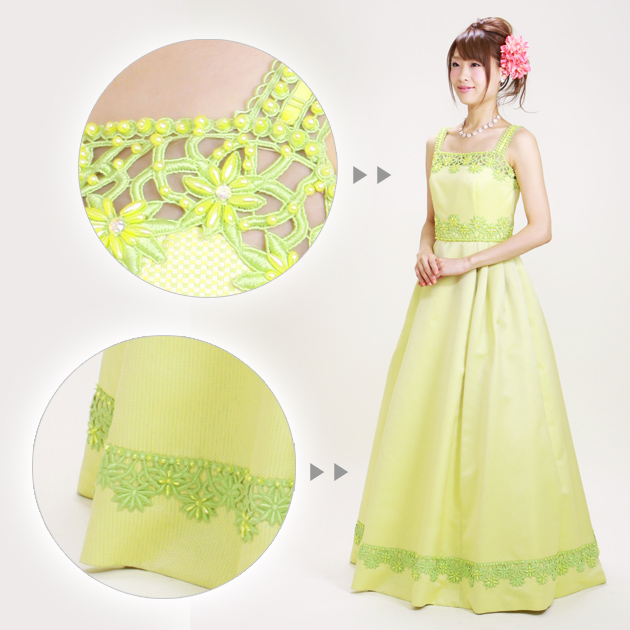 二次会ドレス レンタル 9号 プリンセスライン、ショール付 黄緑 結婚式の2次会に 8305