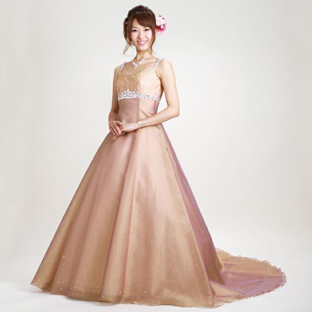 二次会ドレス レンタル 7-9号 Aライン オレンジゴールド 結婚式の2次会に 8327