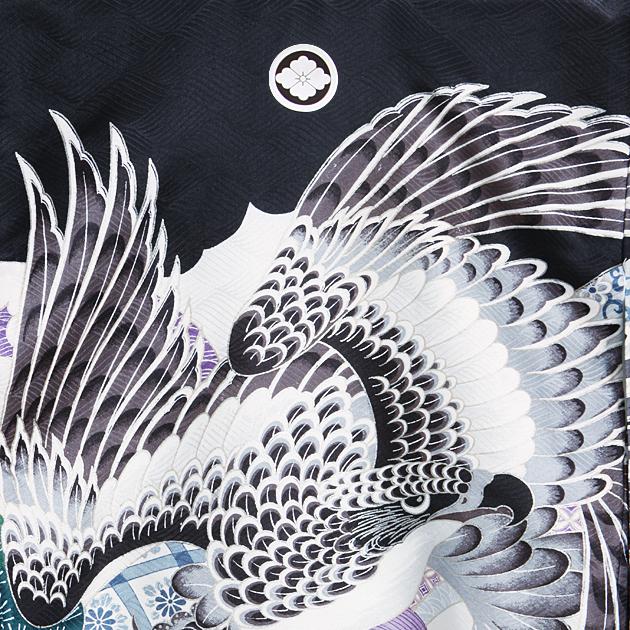 お宮参り レンタル 初着 産着 レンタル 男の子 黒/鷹・小槌 【日本製高級正絹】 赤ちゃん 祝着 m-52