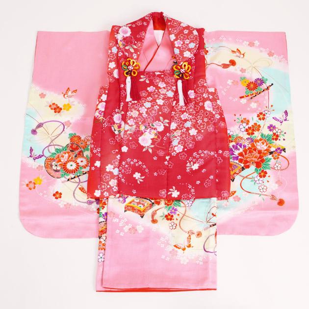 七五三 被布セット レンタル 女の子 3歳 ピンク色/小花つづみ〔身長:90cm,92cm〕 卒園式 結婚式 NT-333-18
