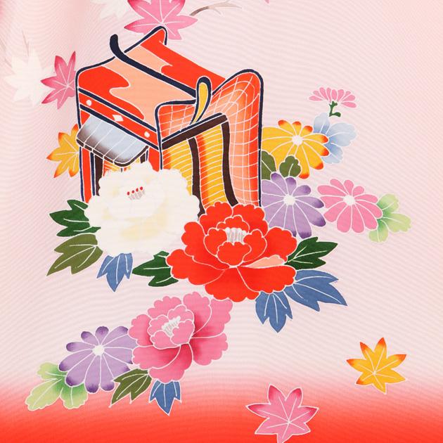お宮参り レンタル 初着 産着 レンタル 女の子 赤ピンク/御所車 【日本製高級正絹】 赤ちゃん 祝着 l-67