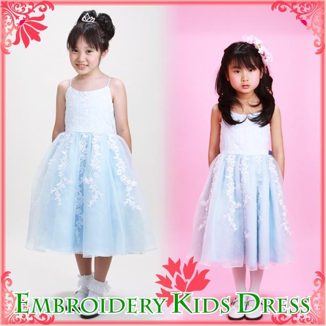 子供 ドレス レンタル 5〜7才 ブルー色 ノースリーブ mf-001a