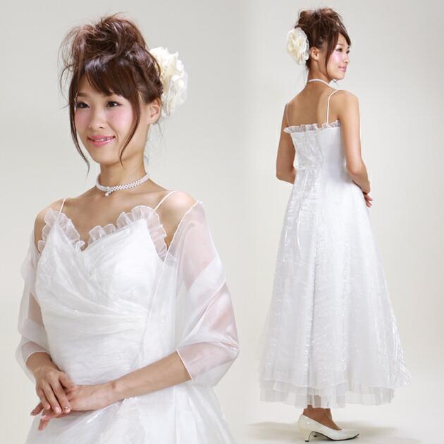二次会ドレス レンタル 11号-13号 Aライン ホワイト 結婚式の2次会に 8117