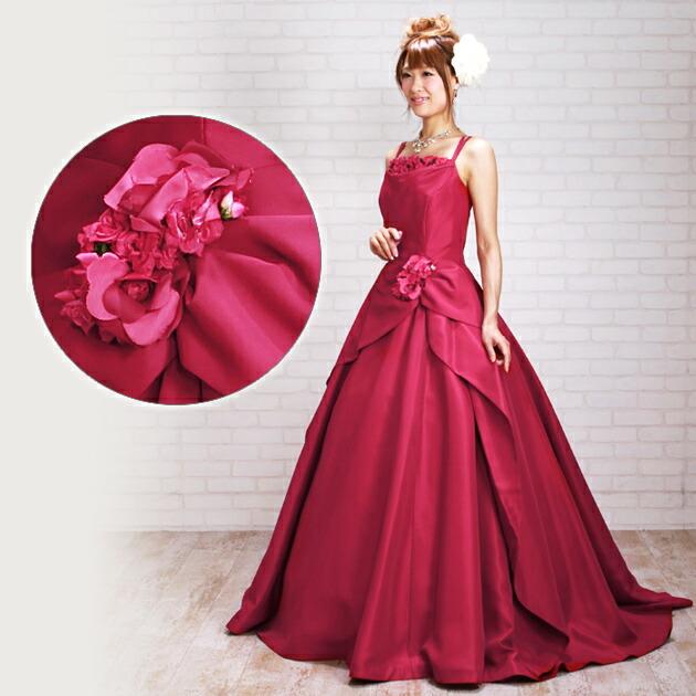 二次会ドレス レンタル 11号 Aライン 赤 結婚式の2次会に 8328