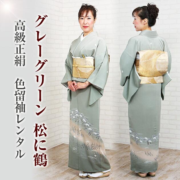 色留袖 レンタル 袷 10月〜5月 グレーグリーン色・松に鶴 留袖 レンタル irotomesode33