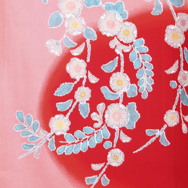 お宮参り レンタル 初着 産着 レンタル 女の子 赤ピンク/梅・鶴 【日本製高級正絹】 赤ちゃん 祝着 l-68