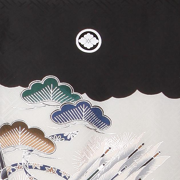 お宮参り レンタル 初着 産着 レンタル 男の子 黒/鷹・かぶと 【日本製高級正絹】 赤ちゃん 祝着 m-53