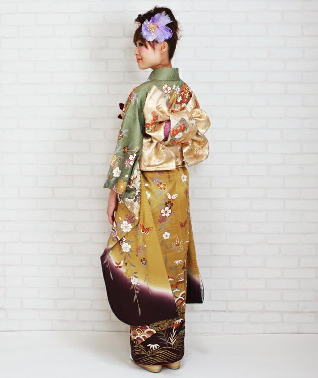 振袖 レンタル,〜168cm モスグリーン・金茶色/鶴に蝶四季花 結婚式 成人式 結納 NT-158