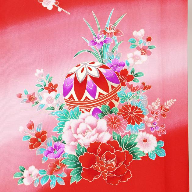 お宮参り レンタル 初着 産着 レンタル 女の子 赤/熨斗目・まり 【日本製高級正絹】 赤ちゃん 祝着 l-69