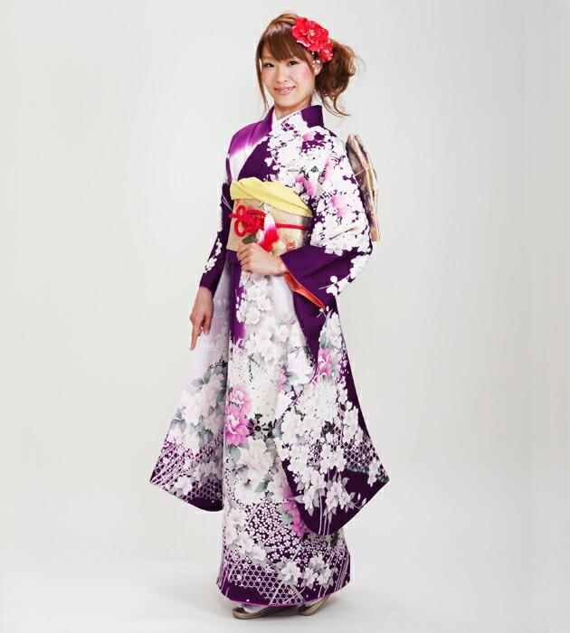 振袖 レンタル,〜160cm 紫色/牡丹 結婚式 成人式 結納 NT-S90