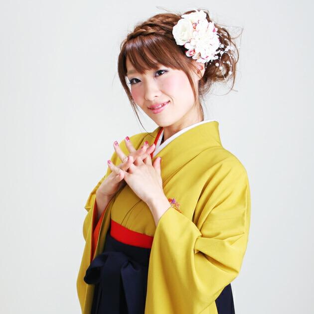 卒業式 袴 レンタル からし色 花紋 身長〜160cm,7号〜13号 NT-218
