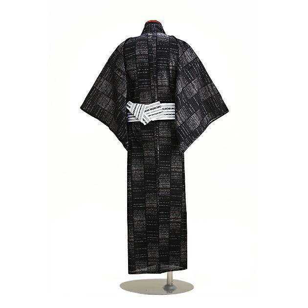 【浴衣 メンズ レンタル】ゆかたレンタル 3点セット☆浴衣・帯・下駄☆nt-my123 黒グレーカーキ縞