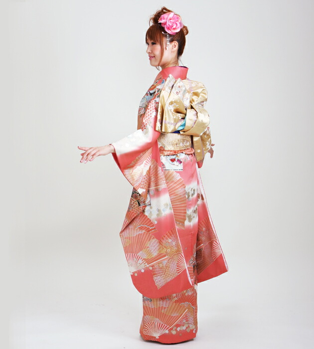 振袖 レンタル,〜168cm ピンク色/扇に鶴 結婚式 成人式 結納 NT-112