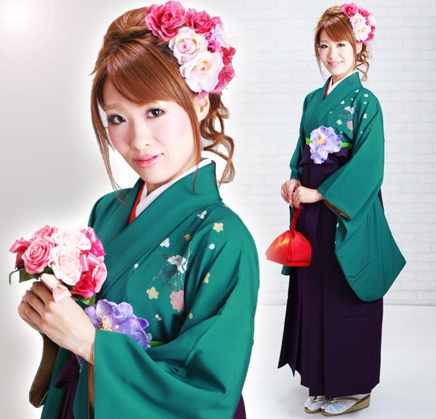 卒業式 袴 レンタル 緑色 花 身長〜160cm,7号〜13号 NT-221