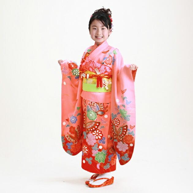 七五三 レンタル 女の子/5〜7歳 七五三着物 7歳 七五三着物7歳 赤ピンク色/蝶々 卒園式 結婚式 ★NT-121