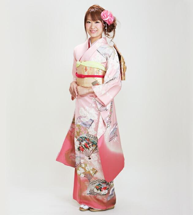 振袖 レンタル,〜165cm ピンク色/扇面柄 結婚式 成人式 結納 NT-94